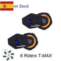 FreedConn 6 Riders T-Max Casque de moto T-Max Interphone Casque Bluetooth avec Radio FM Moto Intercomunicador