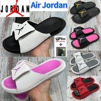 Moda Nike Air Jordan Slippers Black Wolf Grey White University Rojo Fresco Verano Hombres Mujeres Zapatos Slide Metallic Gold Pink con Caja 36-45