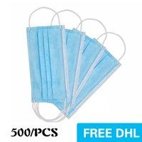 USA Auf Lager Einwegmaske 500 stücke 3-layer Schutz und persönliche Gesundheit mit Holousinen-Mund-Sanitär-Gesichtsmasken Haushaltsschutzprodukte