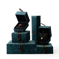 Smycken påsar, Väskor Oirlv Grön Silk Väska med Mönster Suede Infoga Ring Armband Halsband Presentförpackning Box Förvaring Arrangör