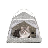 Cat Beds & Furniture Nest Semi-Enclosed Tent Pet Hut Shelter With Screen Door Summer Litter House Comfortable And Stunning
