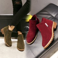 Autumn winter New Women Ankle Boots Knitting wool Flat bottom Martin Fashion casual shoes Waterproof leather Adding cotton Keep warm size EUR35-41 XK327