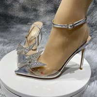 Summer Women Shoes Red Bottoms High Heels plus size euro34 to 45 Stiletto heel 8cm 10cm 12cm Pumps Pointed Toes Transparent sandals crystal Rhinestone Butterfly Wing