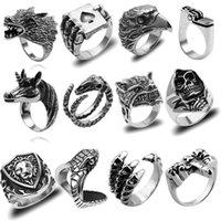 Cluster Rings Retro Gothic Punk Men Trendy Skull Wolf Dragon Male Snake Lighter Poker Jewelry Halloween Accessories
