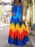 2021 الصيف المرأة طويلة ماكسي اللباس البوهيمي الشاطئ حمالة حمالة ممسحة vestido تصميم جديد التعادل صبغ 3d الرقمية المطبوعة رداء