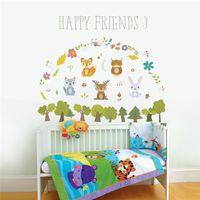 Glückliche Waldtiere Kaninchen Lieber Baum Wandaufkleber für Kinderzimmer Kinder Sofa Home Decor Wandtattoo Poster Wandbild 210420