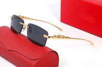 Leopar Kafa Tasarımcısı Güneş Gözlüğü Klasik Iş Altın Gümüş Çerçevesiz Yarım Tam Çerçeve Bayanlar Eğlence Lüks Güneş Gözlükleri Goggle Orijinal Kutusu ile