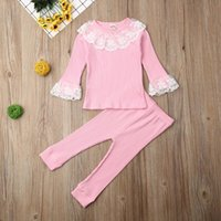 Clothing Sets Baby Clothes Girls Lace Ruffle Tops Toddler T-shirt Kid Pants Autumn Outfit Girl Top Leggings Kids Tracksuit 2Pcs Set