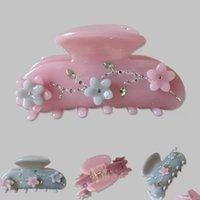 2021 Vintage Romantic Rhinestone Flower Acrylic Hair Clip Claws Hairpin Headwear for Women Makeup Bath Hair Accessories