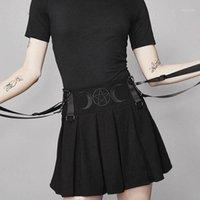 Rosetischer Hosenträger Falten Rock Mini Frauen Sommer Stickerei Mond Pentagram Goth Mädchen Hohe Taille Streetwear Schule Schwarz Röcke1