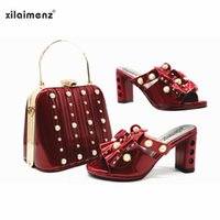 Xilaimz Design Design Spring Italian Ladies Shoe Shoe e Borsa Set Colore Moda con Perla per Party African Donne Abbine Abito Scarpe