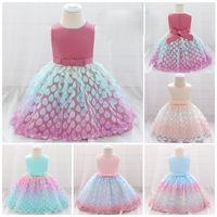 Girl's Dresses Sequins 1 Piece Evening Dress, Round Neck Sleeveless Bow Mesh Bubble Skirt Dance Show Costume Princess Gown