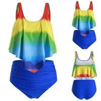 Women's Swimwear 2021 Sexy Women Tie Dye Bikini High Waist Swimsuit Ruffled Female Brazilian Biquini Set Bathing Suit Bather #G3