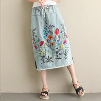 Skirts Spring Casual Midi Denim Women Elastic High Waist Vintage Embroidery Floral Skirt Ladies Slit Ripped Jeans De Muje