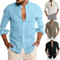 Men's Casual Shirts Men Summer Shirt Linen Fabric Breathable Blouse Wear Fashion Clothing Thin Long Sleeve 2021 Brand