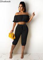 Kadın Eşofman OliveKwok 2021 Yaz Kadın Setleri Kısa Kollu Seksi Slash Boyun Top 7-Noktalı Pantolon İki Parçalı Set Sokak Gece Kıyafetler