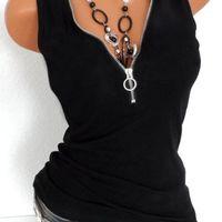 Sexy Tank Cami Tops Mode V-Ausschnitt Reißverschluss Womens Sommer Weste Sleeveless Hemd Beiläufige Lose Plus Größe ROUPAS