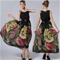 New 2015 Summer Dresses Women Ladies Print Chiffon Vest Long Dress Plus Size Maxi Dresses Bohemian Beach Dress Ball Gown