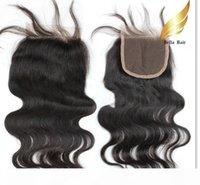 벨라 머리? 묶음 브라질 레이스 클로저 (4 * 4)와 레이스 폐쇄 자연 색상 바디 웨이브 100 % 인간의 머리 위사 벨라 머리카락