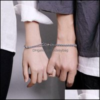Charm Jewelrycharm Bracelets Est 2Pcs Couple Bracelet Rope Braided Distance Magnetic Jewelry Lover Kit Drop Delivery 2021 Luqk5