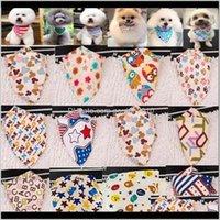 الياقات المقاود 100pcslot الجملة وصول مزيج 60 ألوان الكلب جرو باندانا طوق القطن بانداناس الحيوانات الأليفة التعادل الاستمالة المنتجات SP01 2010 AX1AN