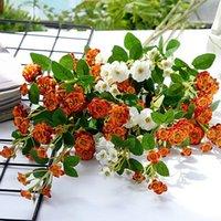 Decorative Flowers & Wreaths Luxury Mini Roses Long Branch Artificial Silk Home Table Centerpiece Room Decor Flores Artificiales High Qualit