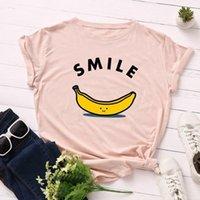 Women's T-Shirt 2021 Chic KOL Smile Banana Printed Top Women Streetwear S-3XL Harajuku Graphic Tees