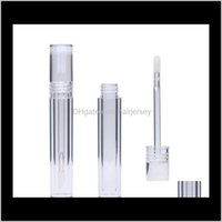 Packing Bottles 5Ml Lipgloss Round Transparent Gloss Tubes With Wand Empty Clear Lipstick Lip Glaze Tube Wholesale Tobbv 6Wv4X
