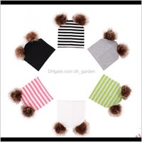 Event Festive Supplies Home & Gardenins Born Winter Warm Striped Knit Double Fur Pompom Ball Beanies Cap Baby Boys Girls Fashion Hip Hop Hat
