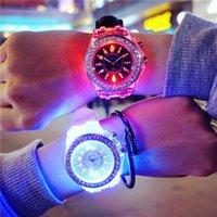 special Party price Luminous led new ladies men's fashion silicone luminouss Diamond watch middle school student wristwatch