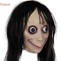 Cosmask Momo مخيف هالوين الإناث شبح القرصنة لعبة الرعب قناع اللاتكس الموت لعبة قناع مخيف عين كبيرة مع الباروكات طويلة Q0806