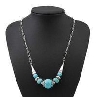 women's round beads Tibetan silver turquoise Pendant Necklaces fashion gift national style women DIY necklace pendants