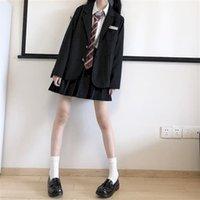 Two Piece Dress Women's skirt small jacket high waist plied set of three pieces white university uniform shirt NTIJ