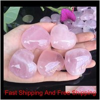 Arts And Arts Crafts Gifts Garden Drop Delivery 2021 Natural Rose Quartz Heart Shape Mini Crystal Chakra Home Decor Reiki Healing Stone Love