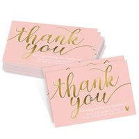 Pink Holiday Greeting Cards Hot Stamping Thank You Card Tag Christmas Birthday Gift Supplies 50*90MM