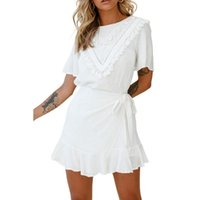 Casual Dresses 2021 Summer Dress Women Lace Up Tassel Ruffle Hem Short Sleeve White Pink