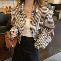 Women's Jackets Houndstooth Design Shirt Coat Korean-style Fashion Casual Short Early Autumn Sweet Chic Top Rac