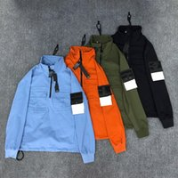 Mens Outwear Coats 윈드 브레이커 자켓 스톤 긴 소매 느슨한 캐주얼 자켓 남성 후드 스웨터 후드 지퍼 절반 디자이너 배지 커플 대형 코트