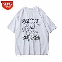 Streetwear Hommes Japonais Summer T-shirt à manches courtes Male Marée Marque De Dessin animé Anime Bear Lettre Impression Lâche Hip-Holton Hip-Hop Com # P84S