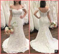 2021 Robe de Mariage white lace mermaid wedding dress off the shoulder vintage short sleeve v neckline bridal gowns court train open back sexy bride dresses on sale