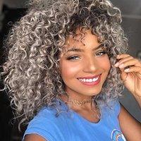 Parrucche lanuginose afro parrucca sintetica riccia per le donne nere African America Fake Capelli finti Parte quotidiana Uso con Bangs