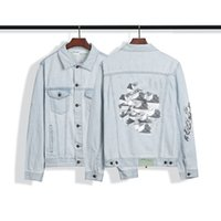 Fashion Denim Jacket 3 d building blocks Mens womans off style white Slim Fit Short hip hop Casual Coats Tops OW clothing arrows letters top quality high Street