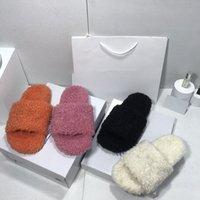 Luxurys Designers Women Slippers Wool Slide Winter fur Fluffy Furry letters Sandals Warm Comfortable Slides Fuzzy Girl Flip Flop black white pink flat Slipper