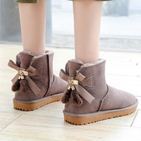 Australia Ladies Snow Boots 100% Genuine Cowhide Leather Ankle Warm Winter Shoes Size 35-42