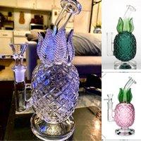 8 인치 높이 도매 물 담뱃대 다채로운 파인애플 모양 파이프 버블 러 재활용 봉 DAB 조작 유리 흡연 워터 파이프 14mm 공동 그릇