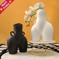 Vases Tabletop Vase Body Art Bust Statue Ceramic Crafts Figurines Resin Flower Arrangement Home Decoration Accessories Modern