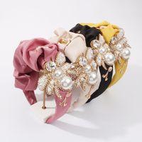 Accesorios para la cabeza de la abeja grande para las mujeres Pearls Simuled Hairbands Satin con la banda de pelo de Rhinestone de cristal Luxury Lady Headdress