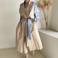 Women's Trench Coats Korean Chic Autumn Retro Lapel Design Sense Stitching Contrast Color Belt Waist Long Windbreaker Jacket