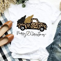 Women's T-Shirt FIXSYS Women Lady Leopard Truck Tree Autumn Winter Merry Christmas Womens Clothes Female Graphic Casual Short Sleeve