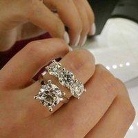 쥬얼리 2pcs 커플 반지 진짜 925 스털링 실버 라운드 컷 화이트 토파즈 CZ 다이아몬드 소나 다이아몬드 여성 결혼식 신부 반지 WJL1176